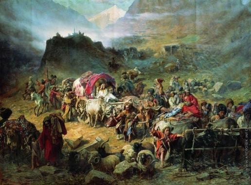 Грузинский П. Н. Оставление горцами аула при приближении русских войск