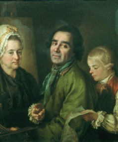 Дрождин П. С. Портрет А.П. Антропова с сыном перед портретом жены Елены Васильевны