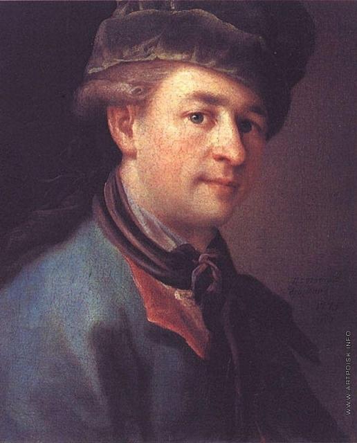 Дрождин П. С. Портрет молодого человека в голубом кафтане (Автопортрет?)