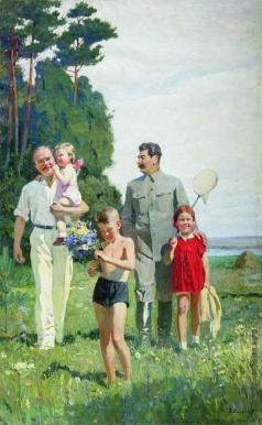 Ефанов В. П. И.В. Сталин и В.М. Молотов с детьми