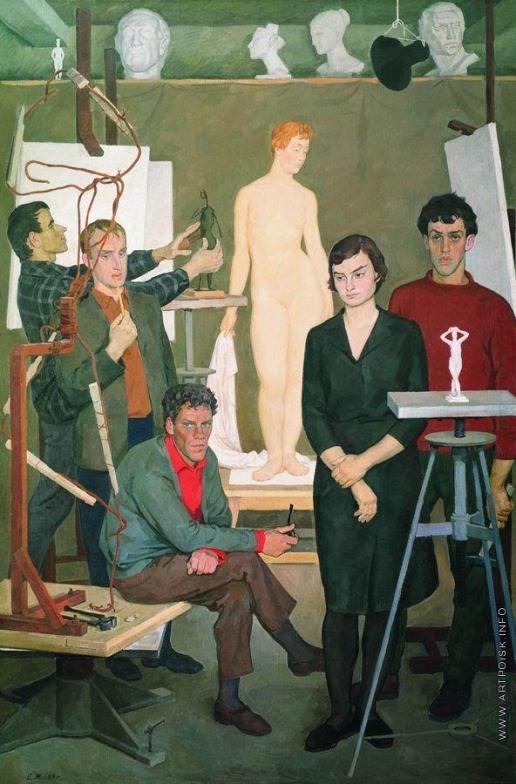 Жилинский Д. Д. Студенты. В скульптурной мастерской