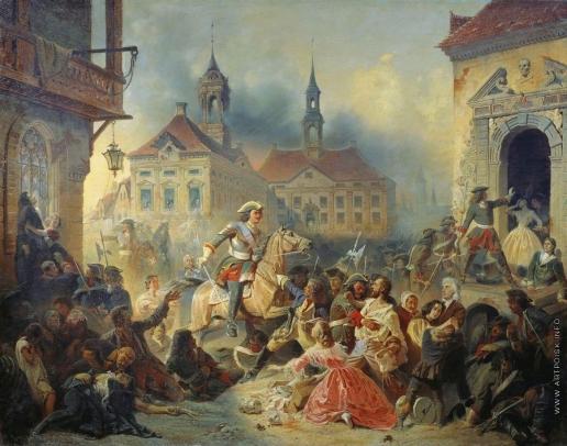 Зауервейд Н. А. Петр I усмиряет ожесточенных солдат своих при взятии Нарвы в 1704 году