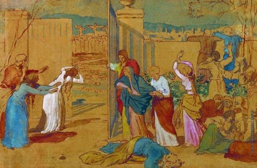 Иванов А. А. Богоматерь, ученики Христа и женщины, следующие за Ним, смотрят издали на распятие