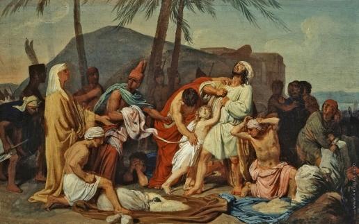 Иванов А. А. Братья Иосифа находят чашу в мешке Вениамина. 1831-