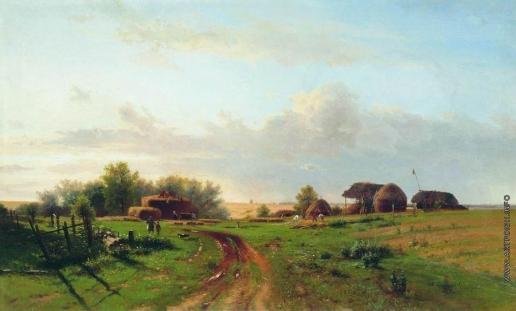 Каменев Л. Л. Жатва (Пейзаж со стогами)