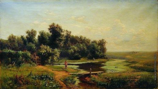 Каменев Л. Л. Полдень. Пейзаж с рекой и рыбачком