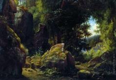 Каменев Л. Л. Скалистый вид в лесу