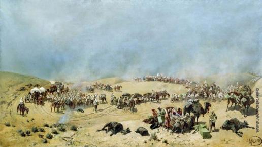 Каразин Н. Н. Хивинский поход 1873 года. Переход Туркестанского отряда через мёртвые пески к колодцам Адам-Крылган