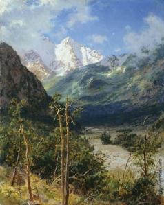 Киселев А. А. Горный пейзаж. Вершины Эльбруса