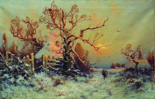 Клевер Ю. Ю. Зимний вечер. Деревушка