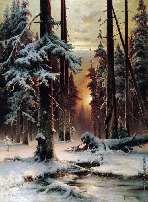 Клевер Ю. Ю. Зимний закат в еловом лесу