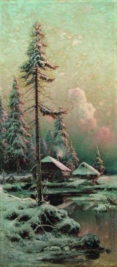 Клевер Ю. Ю. Зимний пейзаж с избами у реки
