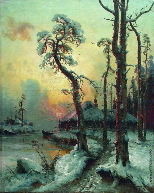 Клевер Ю. Ю. Зимний пейзаж с рекой и домами