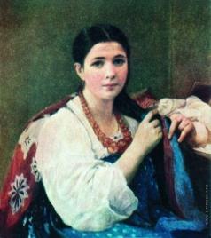 Корзухин А. И. Девушка, заплетающая косу