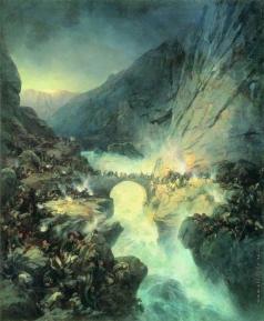 Коцебу А. Е. Бой на Чертовом мосту 14 сентября 1799 года. 1857-