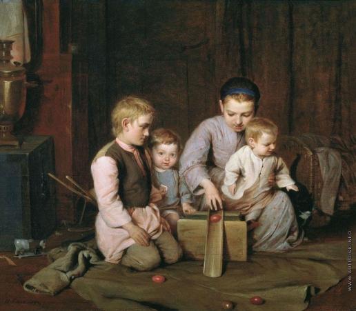 Кошелев Н. А. Дети, катающие пасхальные яйца