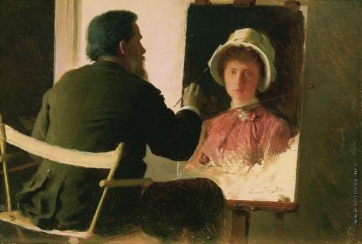 Крамской И. Н. Крамской, пишущий портрет своей дочери, Софьи Ивановны Крамской, в замужестве Юнкер