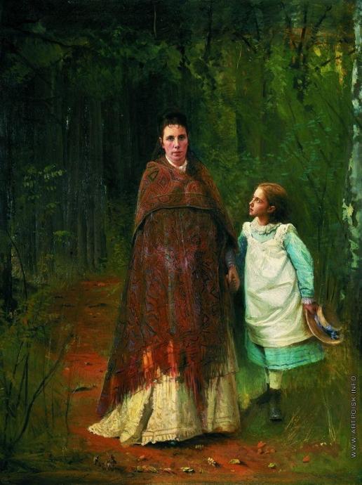 Крамской И. Н. Портрет Софьи Николаевны и Софьи Ивановны Крамских, жены и дочери художника