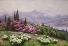 Крачковский И. Е. Весна в Крыму (Ялта. Иудино дерево в цвету)