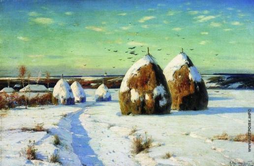 Крыжицкий К. Я. Зимний пейзаж со стогами