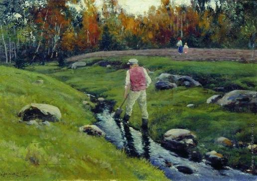 Крыжицкий К. Я. Пейзаж с рабочим у реки
