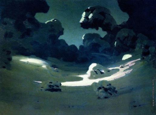 Куинджи А. И. Пятна лунного света в лесу. Зима. 1898-