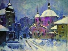 Куприн А. В. Городской пейзаж с розовой церковью. Сумерки