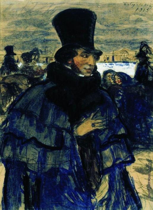 Кустодиев Б. М. А.С.Пушкин на набережной Невы