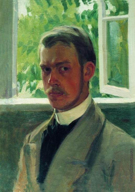 Кустодиев Б. М. Автопортрет у окна