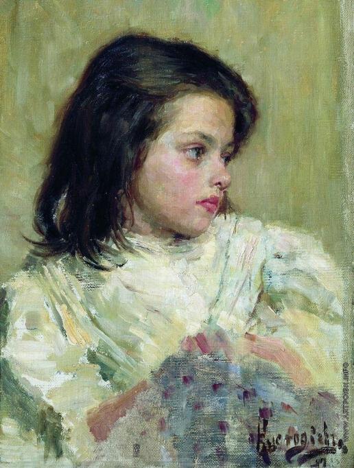 Кустодиев Б. М. Голова девочки