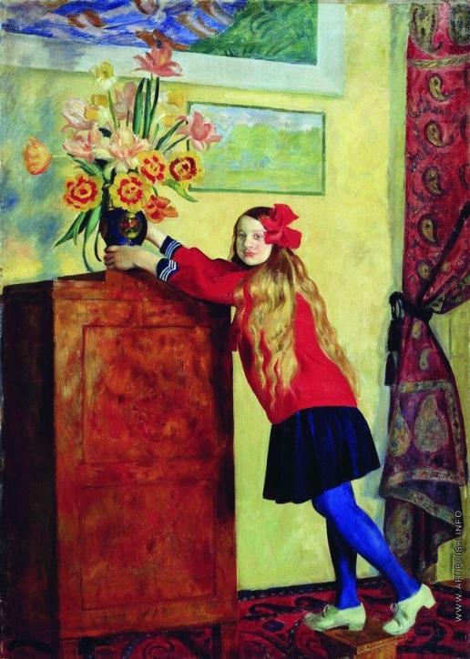 Кустодиев Б. М. Девочка с цветами