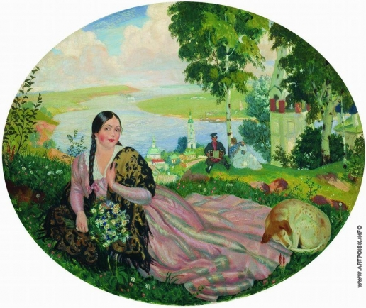 Кустодиев Б. М. Девушка на Волге