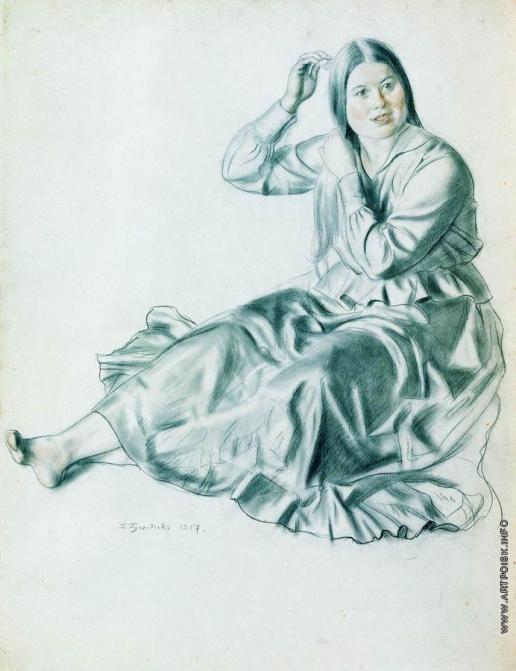 Кустодиев Б. М. Девушка, расчесывающая волосы