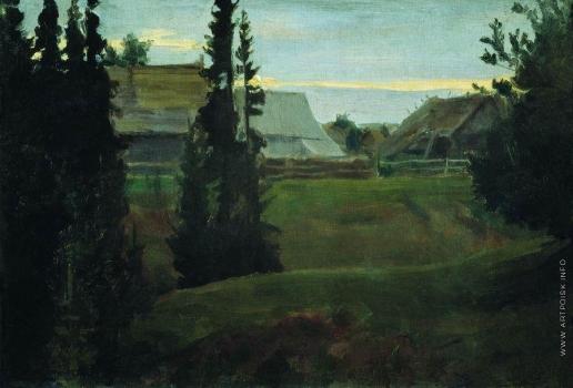 Кустодиев Б. М. Деревня Маурино Костромской губернии