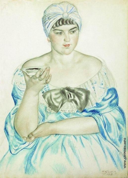 Кустодиев Б. М. Женщина, пьющая чай