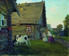 Кустодиев Б. М. Изба. Костромская губерния. 1909-