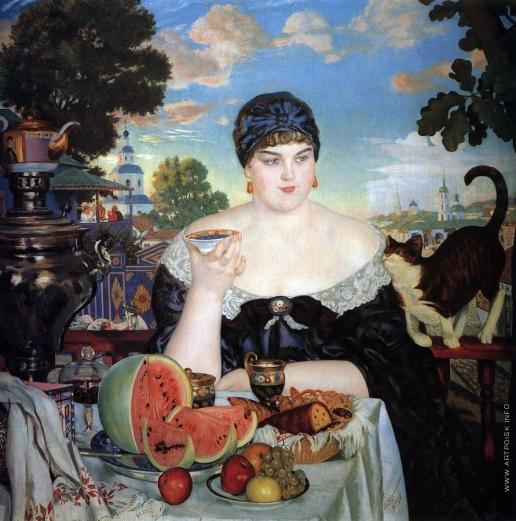 Кустодиев Б. М. Купчиха за чаем