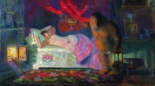 Кустодиев Б. М. Купчиха и домовой