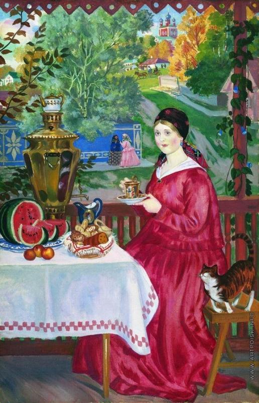 Кустодиев Б. М. Купчиха на балконе