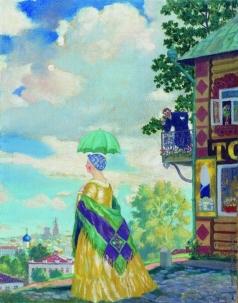 Кустодиев Б. М. Купчиха на прогулке (Провинция)