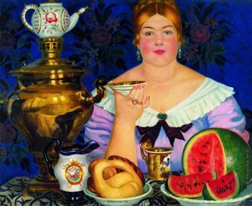 Кустодиев Б. М. Купчиха, пьющая чай
