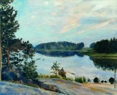 Кустодиев Б. М. Лесное озеро в Конкола