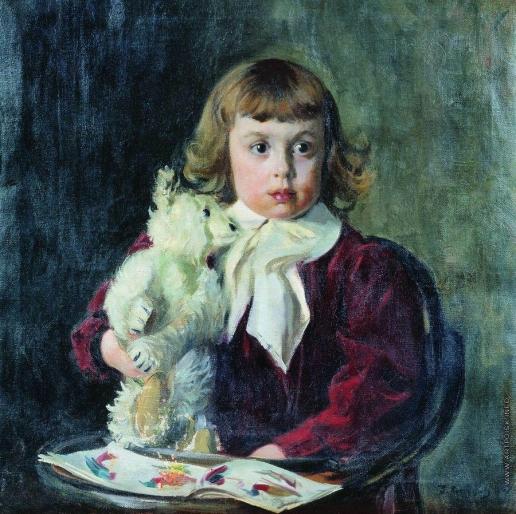 Кустодиев Б. М. Мальчик с мишкой