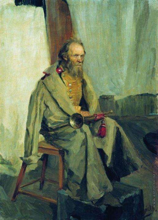 Кустодиев Б. М. Натурщик в шинели