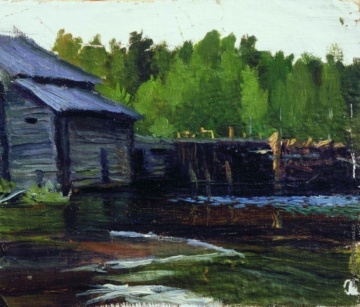 Кустодиев Б. М. Павловская мельница на реке Яхруст