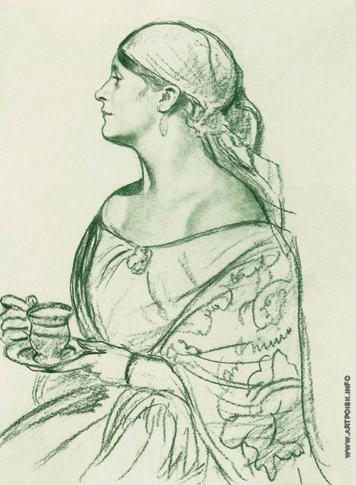 Кустодиев Б. М. Портрет Л.И.Шеталовой (Женщина с чашкой)
