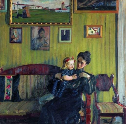 Кустодиев Б. М. Портрет Ю.Е.Кустодиевой с дочерью Ириной