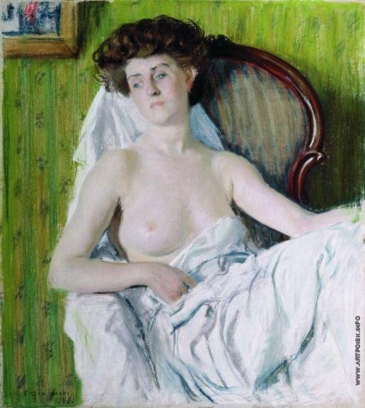 Кустодиев Б. М. Портрет дамы. Модель