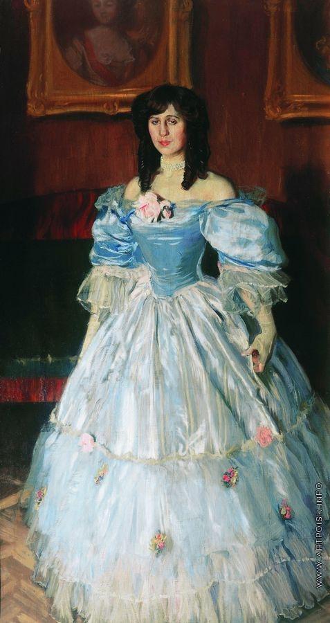 Кустодиев Б. М. Портрет женщины в голубом (Портрет П.М. Судковской)
