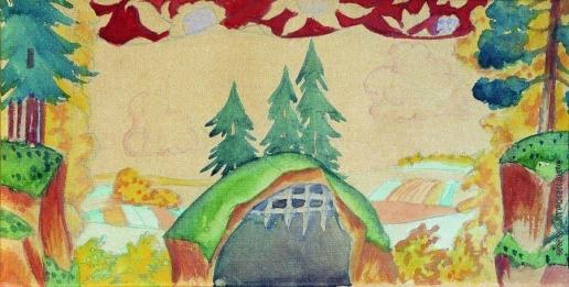 Кустодиев Б. М. Эскиз декорации к кукольной постановке «Петушок - Золотой гребешок»